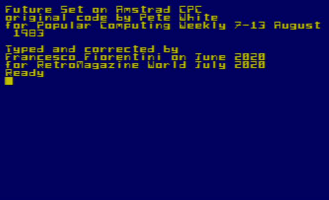 Future Set – Amstrad CPC Locomotive Basic