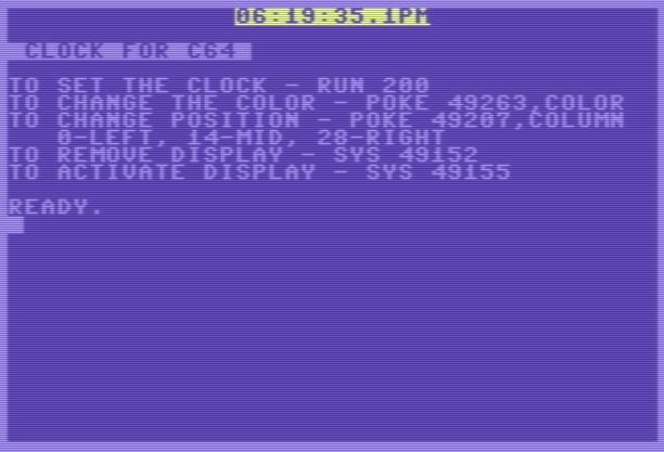 64 Clock – Commodore 64 – Basic V2