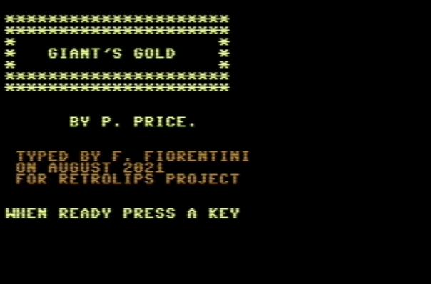 Giant's Gold – Commodore 64 – Basic V2